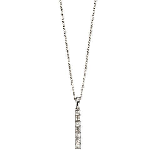 Baguette Bar Diamond Pendant, White Gold
