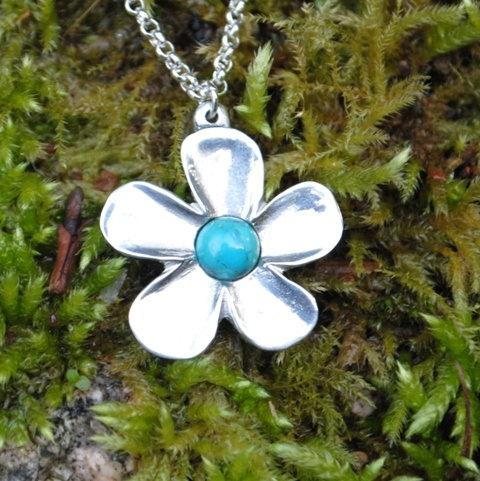 Buttercup Flower pendant, pewter