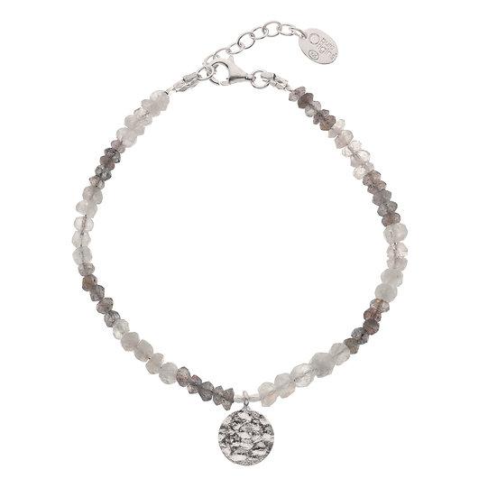 Gemstone bead Bracelet with hammered Disc Charm