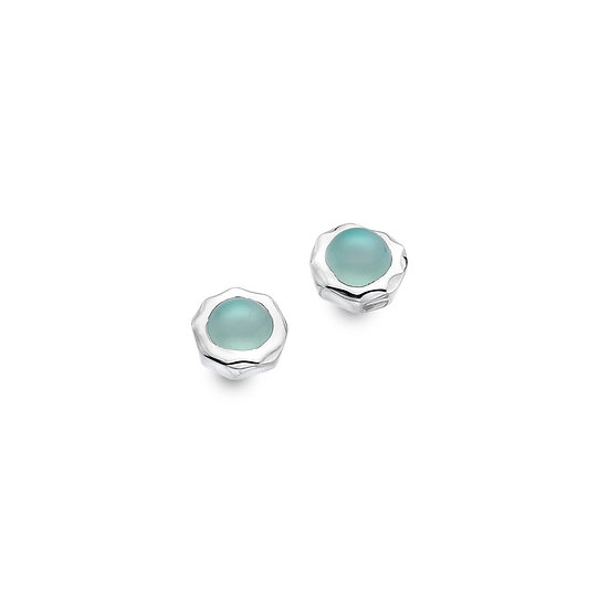 Silver Stud Earrings with Blue Chalcedony