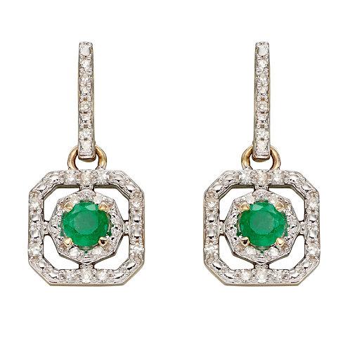 Art Deco Diamond Earrings with Emerald or Ruby