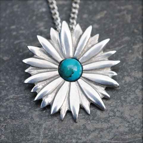 Daisy Pendant, Amber or Turquoise