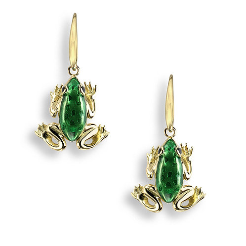 18 Carat Gold Green Frog earrings, studs or drops