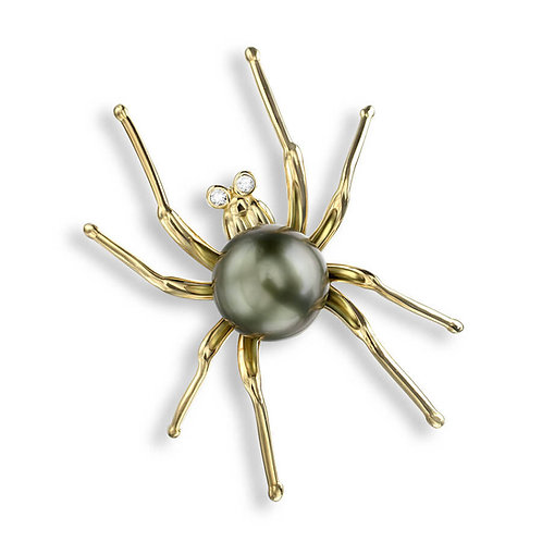 18 Carat Blue Spider Brooch, Diamonds and Tahitian Pearl