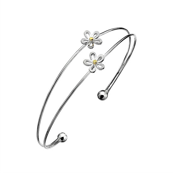 Silver Double Daisy Bangle