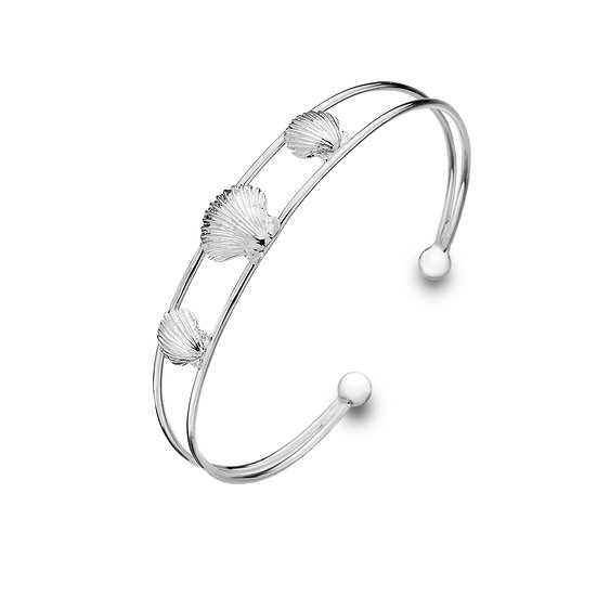 Scallop shell Silver Cuff bangle