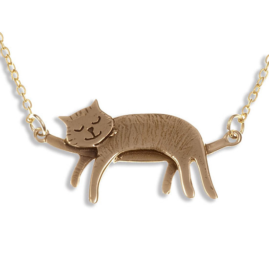 Sleeping Cat Necklace, Bronze