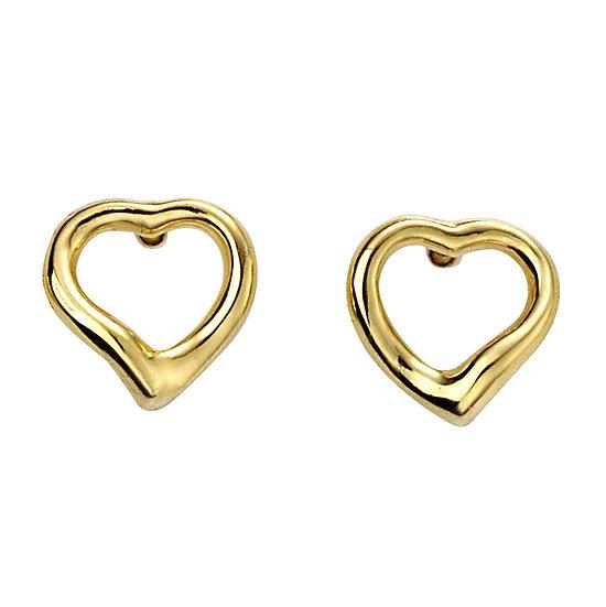Gold Plated Open Heart Stud Earrings