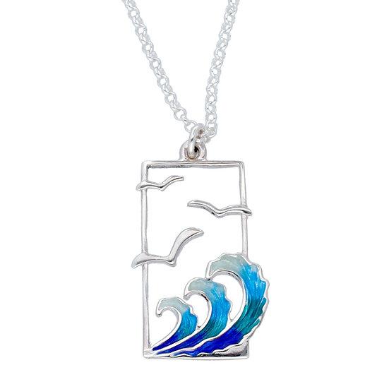 St Justin Glas Mor Golanes Seagulls enamelled pendant
