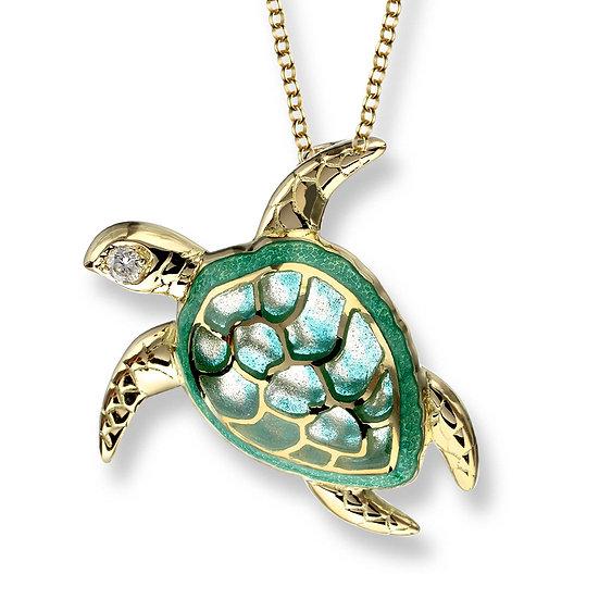 18 Carat Gold Turtle Pendant, Diamonds