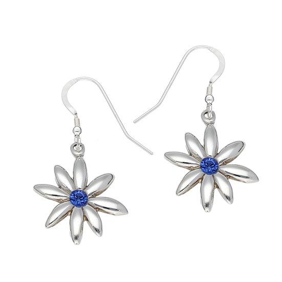 Silver winter daisy earrings