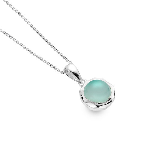 Silver Pendant with Blue Chalcedony