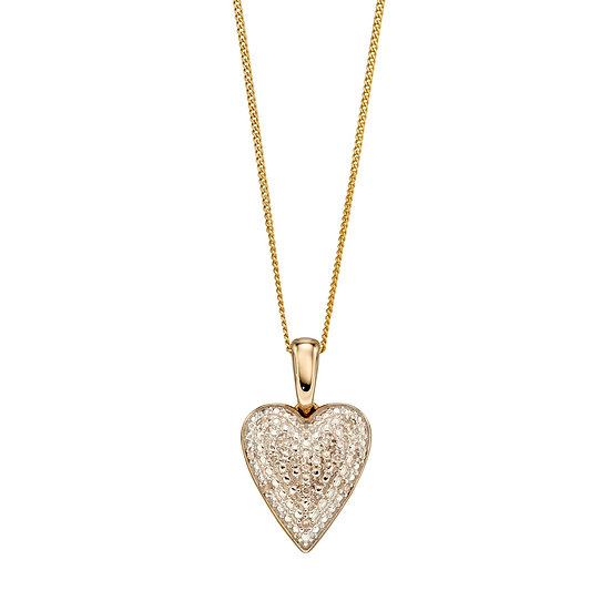 Diamond Heart Pendant, 9ct Gold