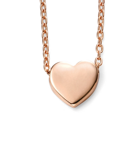 Heart Charm Necklace, Rose Gold