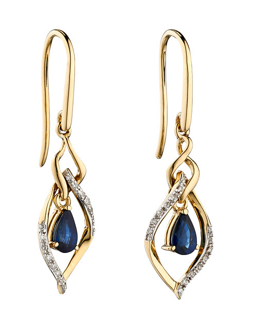 Sapphire and Diamond Marquise Earrings