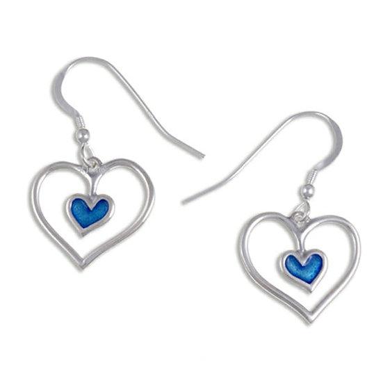 Blue Enamel Silver Heart Earrings