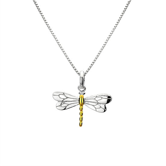 Dragonfly Pendant, Silver with Gold plate