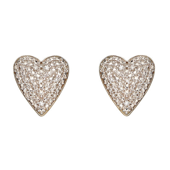 Pave Diamond Heart Earrings, 9ct Gold