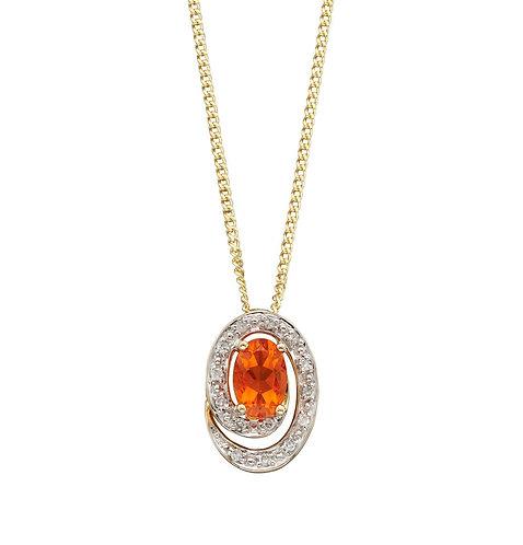 Fire Opal Pendant with Diamonds