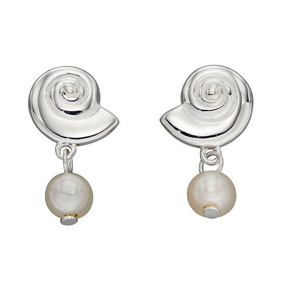 Shell Stud Drop Earrings with Pearls