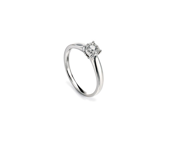 Diamond Cluster Ring, 9ct White Gold