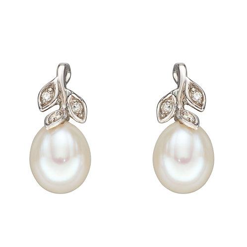 Pearl & Diamond Leaf Earrings in White Gold