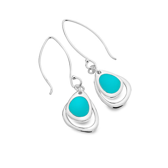 Pebble Earrings with Turquoise or Paua shell
