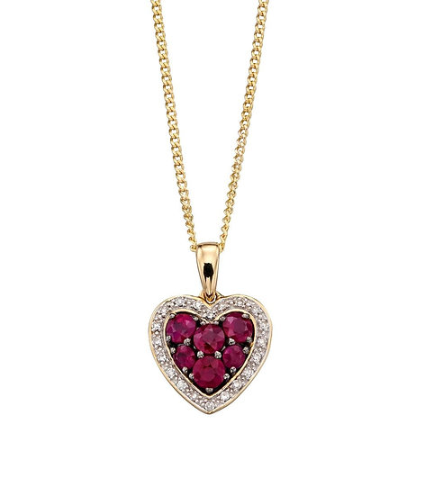 Ruby and Diamond Heart Pendant, 9ct Gold