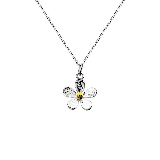 Hammered Daisy Pendant, Silver with Brass