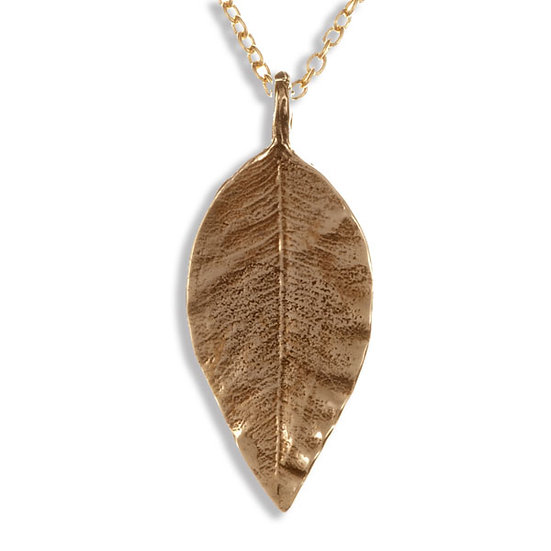 Pointed Leaf Pendant, Bronze