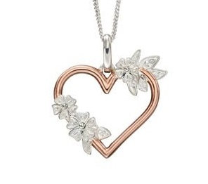Rose Gold Plated And Silver Floral Cutout Heart Pendant