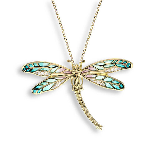 18 Carat Gold Green Dragonfly Necklace with Diamonds
