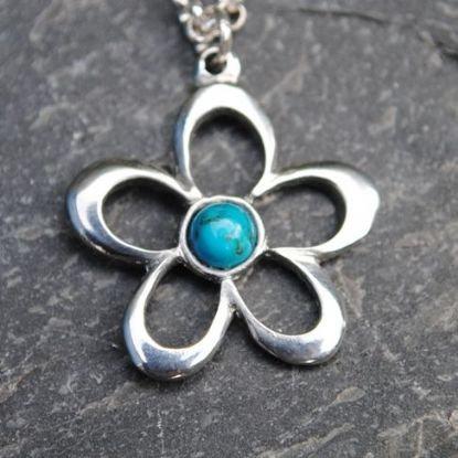 Open Flower Pendant, Amethyst or Turquoise