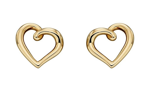 9ct Gold Organic Heart Stud Earrings, Yellow Gold, Rose Gold or White Gold
