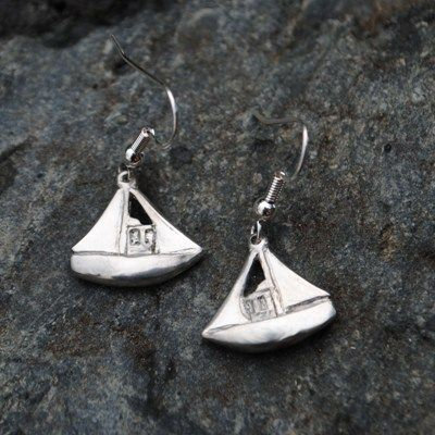 Handmade Fishing Boat Earrings, Pewter