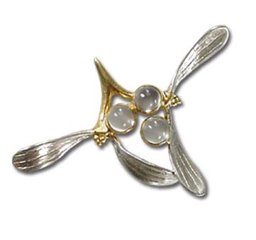 Mistletoe Brooch with Moonstone