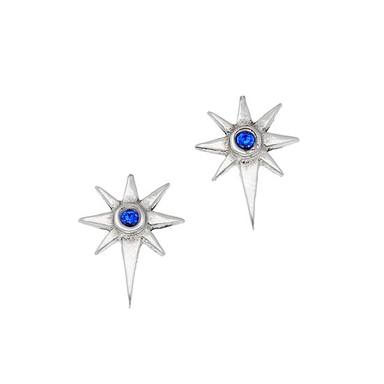 Star stud earrings with blue crystal