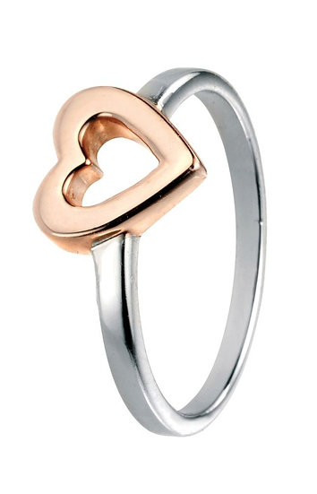 Rose gold plated Open heart ring