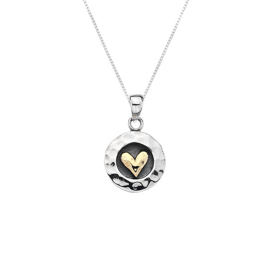 Round Silver Pendant with Brass heart