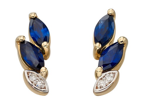 Yellow Gold Sapphire And Diamond Marquise Stud Earrings