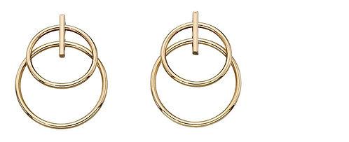 Yellow Gold Double Circle Drop Earrings