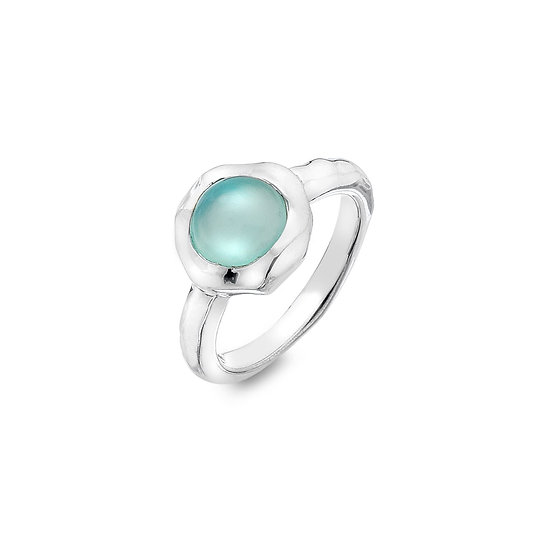 Large Silver Ring with Blue Chalcedony