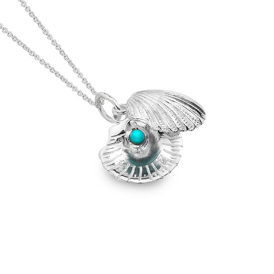 Scallop Shell Pendant with Turquoise