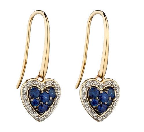 Sapphire and Diamond Heart Earrings