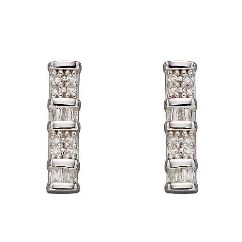 Baguette Bar Diamond Earrings, White Gold