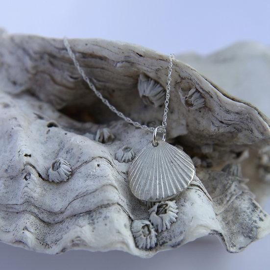 Scallop Shell Pendant, Natural Silver
