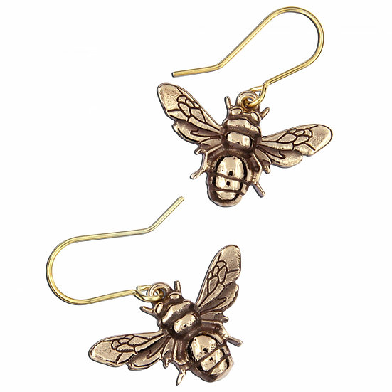 Bee Earrings, Bronze