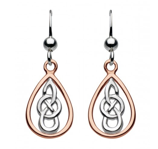 Celtic Silver Kyla Knotwork Earrings Silver or Rose Gold plated