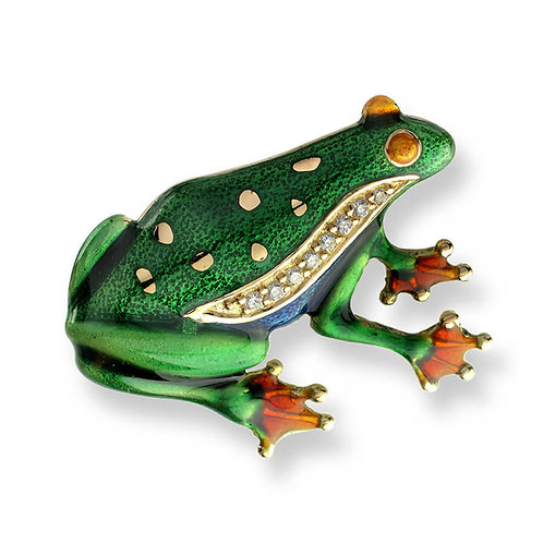 18 Carat Gold Frog Brooch with Diamonds