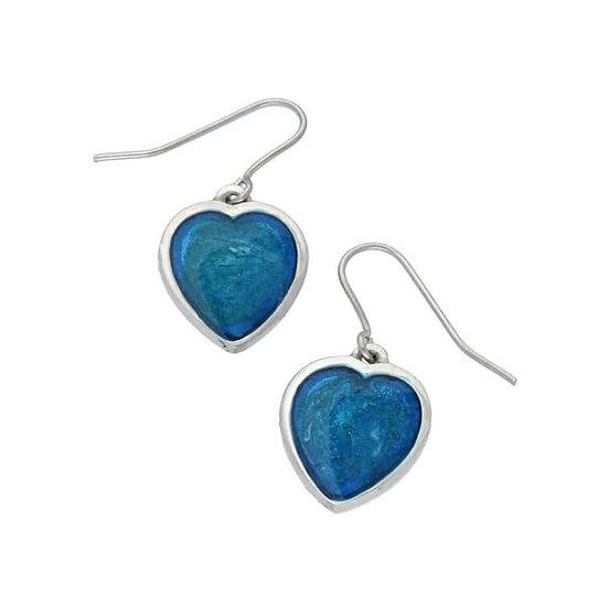 Blue Enamel Pewter Heart Earrings